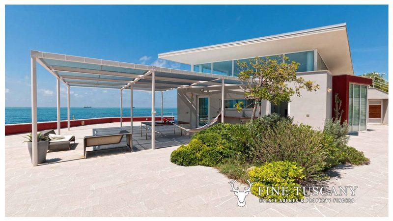 Luxury seafront villa for sale in Antignano Livorno Tuscany Italy
